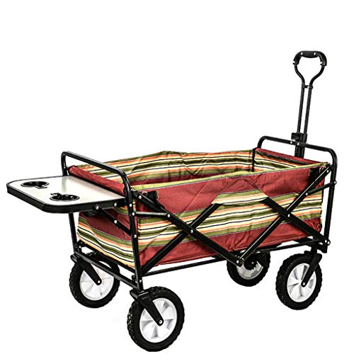 Inklapbare Outdoor Utility Wagon met Tafel en Beker, Draagbare Opvouwbare Winkelwagen Multifunctionele Handwagen Geschikt voor Camping Picnic Beach
