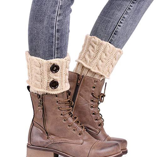 Ogquaton Calentadores de Pierna de Ganchillo de Punto de otoño Invierno para Mujer Calcetines de Arranque Suave Calcetines de Arranque Durables y útiles