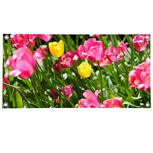 Vispronet PVC-Banner ✓ Deko-Motive, Dekobanner ✓ versch. Größen ✓ mit Metallösen ✓ inkl. Spanngummis (75x150 cm, Blumen 4 - Tulpen)