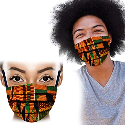 Vertex Face Mask Cotton Reusable - Breathable Comfort, Fully Machine Washable, African Kente Face Masks For Home Office Work And Outdoors Fashion Face Cover For Ghana Men and Women African Print