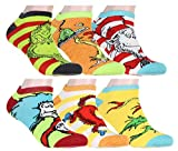 Dr. Seuss Socks Adult Book Character Designs 6 Pack Mix and Match No Show Ankle Socks, 9-11
