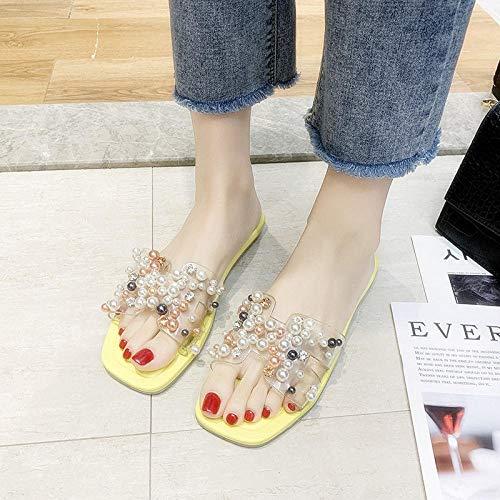 Noctiflorous Tongs Sandales Femmes Plates,Portez des Sandales à Semelles épaisses à l'extérieur, Sandales de Plage pour Femmes-B Jaune_37,Extérieur Bain Sandal