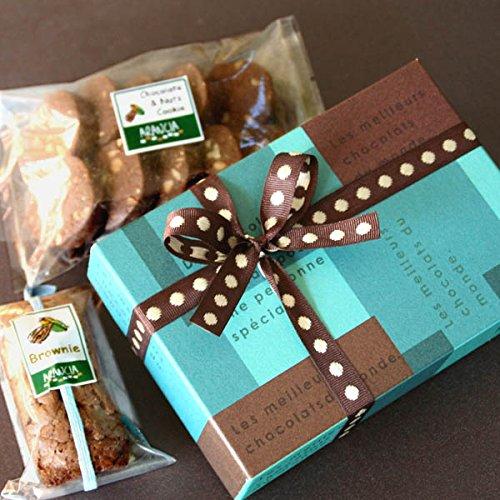大人のギフト「ブラウニー&チョコナッツクッキーinシックなBOX」(チョコレートの焼き菓子ギフト)