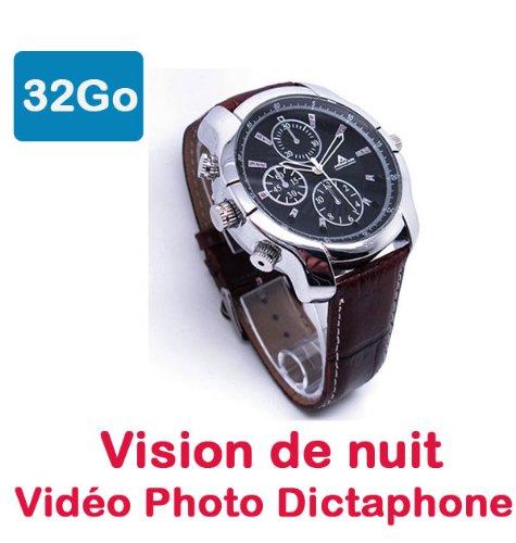 Reloj Mini Cámara oculta espía 32GB Full HD 1920x 1080P visión nocturna por infrarrojos aviador 40vr32