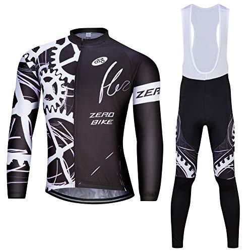 ZEROBIKE & reg; Camicia a maniche lunghe da uomo con Salopette Pantalone lungo da ciclismo Stretto (M)