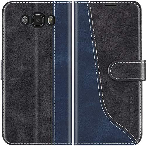 Mulbess Coque pour Samsung J5 2016, Coque Cuir Samsung Galaxy J5 2016, Etui Samsung J5 2016, Pochette Housse pour Samsung Galaxy J5 Duos 2016 Protection, Noir