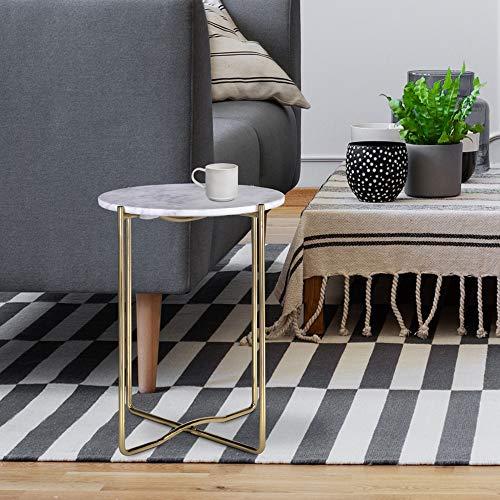 WOMO-DESIGN Design Beistelltisch Ø40 x 50 cm, Weiß Banswara Marmor/Gold Metall, Wohnzimmertisch Marmor Optik/Gold Metallgestell, Moderner Sofatisch, Runder Couchtisch, Kleiner Lounge Tisch