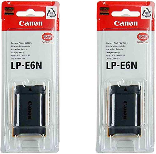 2 Pack LP-E6N Battery for Canon EOS Digital SLR 60D, 70D, 80D, 6D, 6DMKII, 7D, 7DMKII, EOS R, 5DMKII, MKIII, Mark IV, 5DS 5DS R