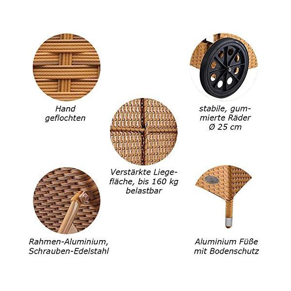 RS Trade 'Toscana XXL' Outdoor Polyrattan Sonnenliege mit Rollen und verstärktem Gestell (bis 160 kg), Lehne 5-Fach…