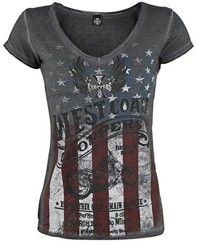 West Coast Choppers Girls T-Shirt American Pride Oil Dye Anthracite (Large , Grau)