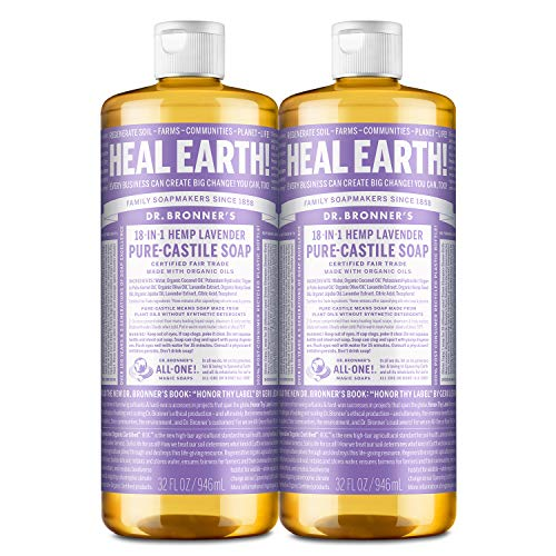 Dr. Bronner's - Pure-Castile Liquid Soap (Lavender, 32 ounce, 2-Pack) - Made with Organic Oils, 18-in-1 Uses: Face, Body, Hair, Laundry, Pets and Dishes, Concentrated, Vegan, Non-GMO