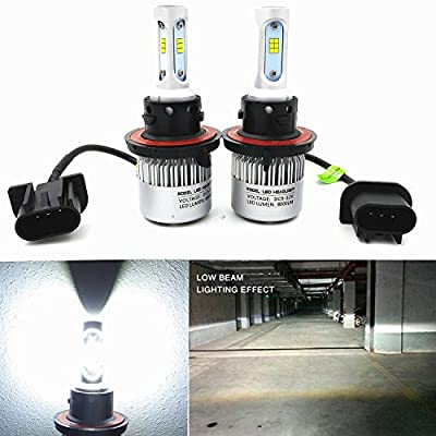 Alla Lighting 8000 Lumens H13 LED Headlight Bulb New CSP Extremely Super Bright 9008 High Low Beam Conversion Kits Headlamps Replacement for Cars Trucks, Xenon White