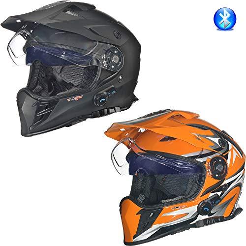 Preisvergleich Produktbild RX-968 COM Bluetooth Crosshelm Integralhelm Quad Cross Enduro Motocross Offroad Helm rueger,  Größe:S (55-56),  Farbe:Matt Schwarz