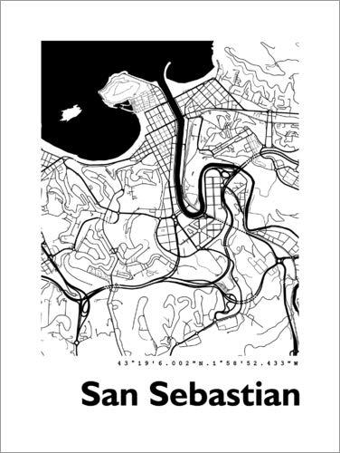 Posterlounge Lienzo 60 x 80 cm: Map of San Sebastian de 44spaces - Cuadro Terminado, Cuadro sobre Bastidor, lámina terminada sobre Lienzo auténtico, impresión en Lienzo