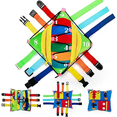 teytoy Sensory Buckle Pillow Toys Activity for Children Learning Fine Motor Skill and Problem Solving Buckles Educational Toy, Plush Threading Counting and Zipper (12 Basic Skill) from teytoy