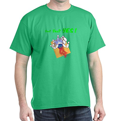 CafePress - Yes! Flaming Bowling Ball - T-Shirt aus 100% Baumwolle Gr. M, kelly green