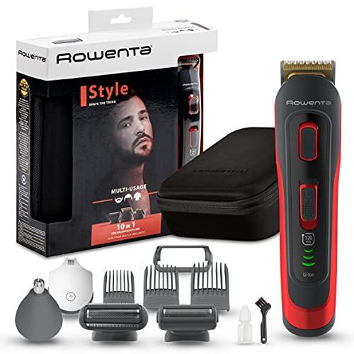 Rowenta Selectium Style Rojo TN9440 Multiaccesorios 10 en 1, Cuchillas autoafilables titanio para cabello y barba, afeitadora corporal, uso inalámbrico, autonomía de 120 min, resistentes al ag