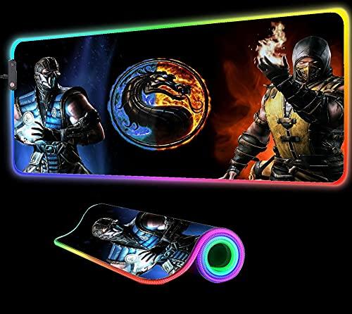 Alfombrilla de ratón Mortal Kombat para Juegos, Alfombrilla Grande para Teclado de computadora, Juego de Reproductor LED RGB, Alfombrilla de Escritorio para Ordenador portátil, 900x400x4 mm