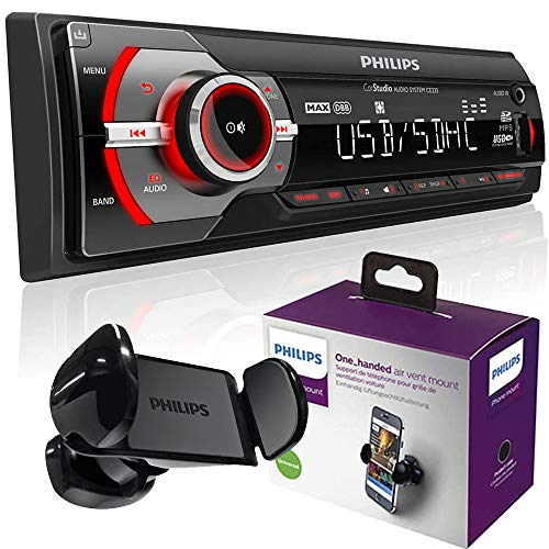 Pack Philips Coche - AutoRadio Philips CE233/10 sin Mecánica 1 DIN + Soporte Inteligente Coche para Móvil/GPS Universal (Android & iPhone) hasta 6'