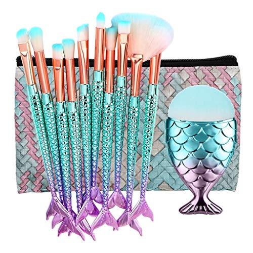 FBGood Pinceaux de Maquillage Set 11 pcs 3D Mermaid Makeup Brush Cosmetic Brushes Eyeshadow Eyeliner Blush Brushes, 11 Pinceaux de Maquillage avec Sac Cosmétique