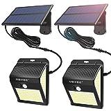 MEIKEE Lámparas Solares de Seguridad 450LM, LED Foco Solar con Sensor de Movimiento IP65, Iluminación de Exterior Blanco frío para jardín, terraza, camino, trastero(2 pack)