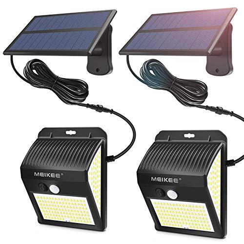MEIKEE Lámparas Solares de Seguridad 450LM, LED Foco Solar con Sensor de Movimiento IP65, Iluminación de Exterior Blanco frío para jardín, terraza, camino, trastero(1 pack)