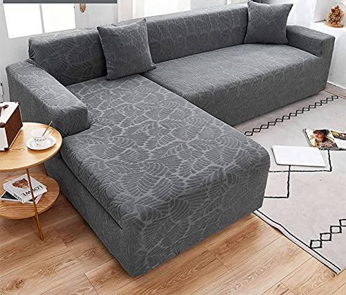 SLOUD Fundas de sofá seccionales, 2 Fundas de sofá en Forma de L, Fundas Suaves para Muebles, con 2 Fundas de Almohada Tipo L, Tela de poliéster-A-En Forma de l 2+2 plazas