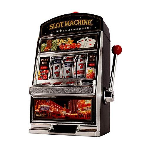 Monsterzeug Glücksspiel Automat Einarmiger Bandit, Slot Machine, Geldspielautomat mit Lichtern, XXL Glücksspielautomat, Casino Automat mit Soundeffekten, Spardose, Spielmünzen