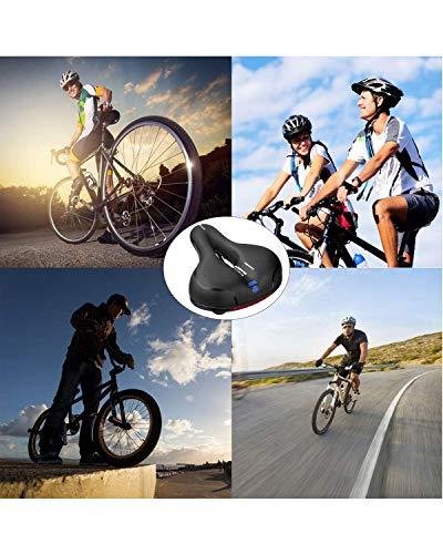 MSDADA Gel Bike Seat Bicycle Saddle, Wide Bike Saddle for Men & Women, Waterproof Bicycle Seat Comfortable Soft Cushion for Road Bike, Cruiser, Mountain Bike, Exercise Bike, City Bikes(Black-Blue)