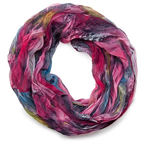styleBREAKER Feder Muster Batik Style Loop Schlauchschal, Crash and Crinkle, seidig leicht 01016064, Farbe:Pink