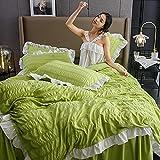 YFGY Bettwäsche Set 1,8 m Bett 200 * 230 cm, gekräuselter Seersucker-Spitze-Bettbezug für Mädchen, Tagesdecke Bettrock Bettwäsche Teen lila König 4 Stück