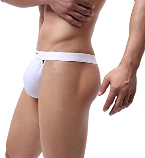 LOPILY Mens G-String Underwear T-Back Bikini Briefs Bulge Pouch Briefs Thongs Solid Color Funny G-String Jockstrap Underpa...