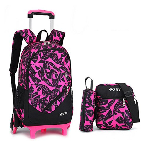 School Bag with Wheels YUB Backpack Trolley School Bags for Boys and Girls Removable Six Wheels (Rose Red)