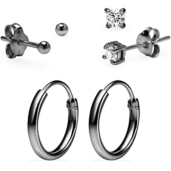 Sterling Silver Small 10mm Endless Hoop Earrings with 3mm Ball Stud Earrings 3 Pair Set