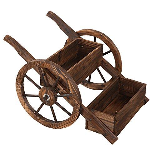 Étagère d'usine pour la forme de roue rétro cadre en bois de fleur de double roue en bois étagère de fleur de plancher de balcon de salon support de stockage extérieur