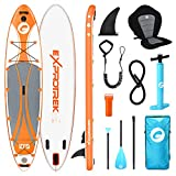 Exprotrek Stand Up Paddling Board, aufblasbares SUP Board, Stand Up Paddle Board Set, 6 Zoll dick für alle Schwierigkeitsgrade mit Aluminiumpaddel, Kajaksitz und komplettem Zubehör (200KG MAX)