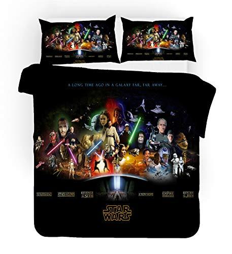 Juego de ropa de cama de Star Wars con funda de edredón y funda de almohada de microfibra, impresión digital 3D (Star Wars 15,200 x 200 cm)