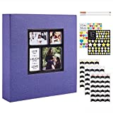 Benjia - Álbum de fotos tradicional autoadhesivo, gran formato en blanco, autoadhesivo, tejido con adhesivo para 10 x 15, 11,5 x 15 y 13 x 18 (50 hojas/100 páginas), color morado