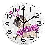 Lindo Puppy Pug en el Ballet Rosado Tutu Tutu Reloj Redondo, Reloj de Escritorio de Cuarzo de Cuarzo con batería para el hogar, Cocina, Oficina, Escuela