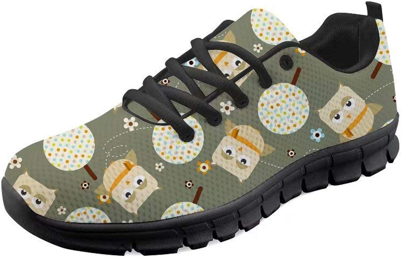 Doginthehole Cartoon Owl Print Lightweight Running shoes Women Casual Sport Sneakers for Girl