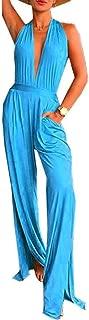 FSSE Women's Backless Sleeveless Halter Deep V Neck Wide Leg Jumpsuit Romper