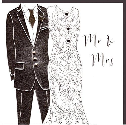 Belly Button Designs Paloma elegante Hochzeitskarte mit Prägung und Kristallen (weißsilber)
