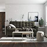 Dorel Living Emily Upholstered Sofa Couch Living Room Furniture, Gray