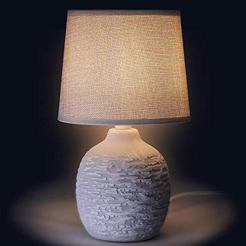 Bakaji Lampada da tavolo Base a Vaso Rotondo in Ceramica Paralume in Tessuto Bianco Lume Comodino Camera da Letto Luce Lampadina E14 Max 40W Abatjour Design Moderno Dimensioni 26 x 15 cm