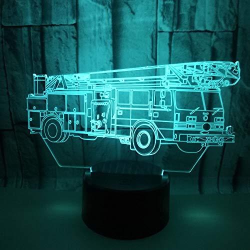 Solo 1 pezzo Nuovo camion dei pompieri 3d soggiorno piccola lampada da comodino colorata lampada da tavolo 3d piccola