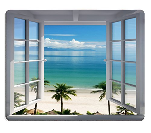 Wknoon Mouse Pad Palm Trees Tropical Island Beach Nature Paradise Panoramic Picture Through Wooden Windows Scene Custom Design