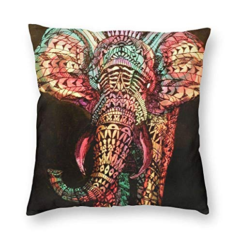 AEMAPE Throw Pillow Covers, Square Throw Pillow Cases Mandala Indians Elephant Decorative Soft Soild Pillow Sham for Sofa Couch Bed Chair,18x18 in