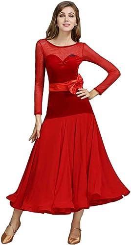 RJ Robes VêteHommests de Danse Modernes, vêteHommests de Danse de Salon de Valse à Manches Longues (Couleur   rouge, Taille   L)