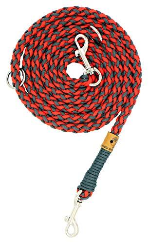 Hundeleine Balu aus Paracord, Führleine, Simply Red - Charcoal Grey, Handgeflochten, Individuelle Länge, Mehrfach Verstellbar, 1.5 Zentimeter breit