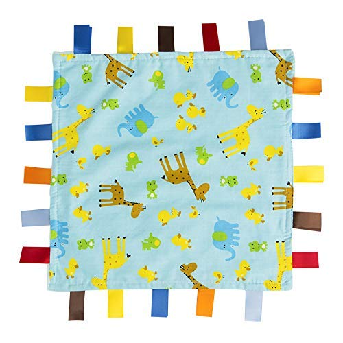 Blue Baby Comforter Blanket - Giraffe, Elephant and Chick Animals Security Blanket with Plain Blue Textured Underside